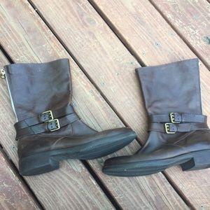 J. Crew Britten short flat leather boots